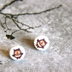 BrownOwly stud earrings